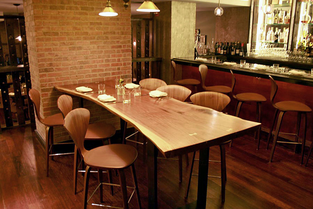 Live Edge Black Walnut Dining Table for Bread & Tulips Restaurant at Hotel Girafe by Sentient Furniture