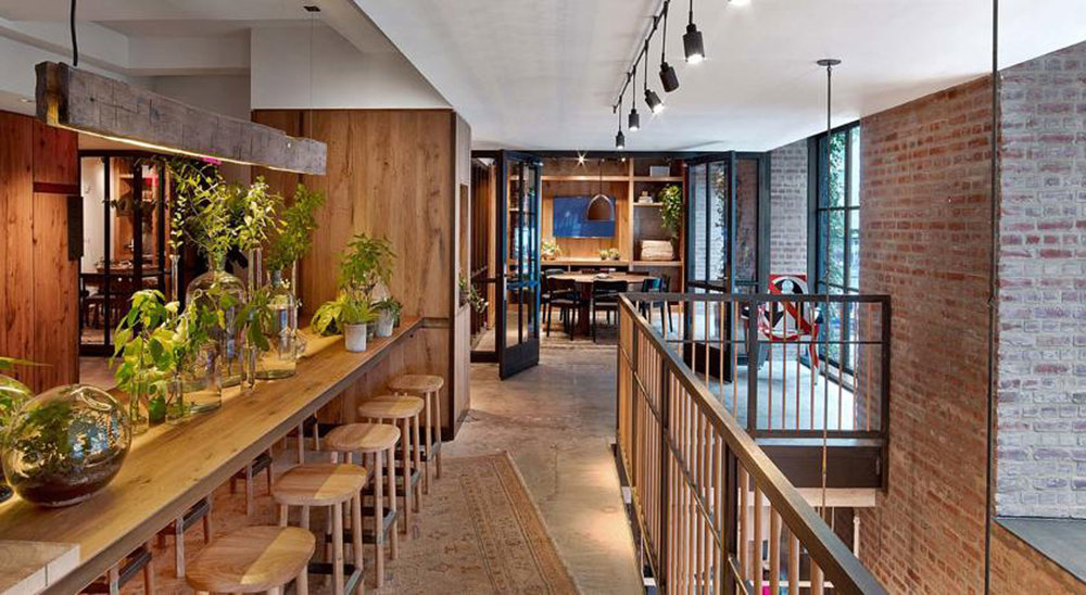 Reclaimed White Oak Tables for Jams Restaurant at 1 Hotel Central Park by Sentient Furniture
