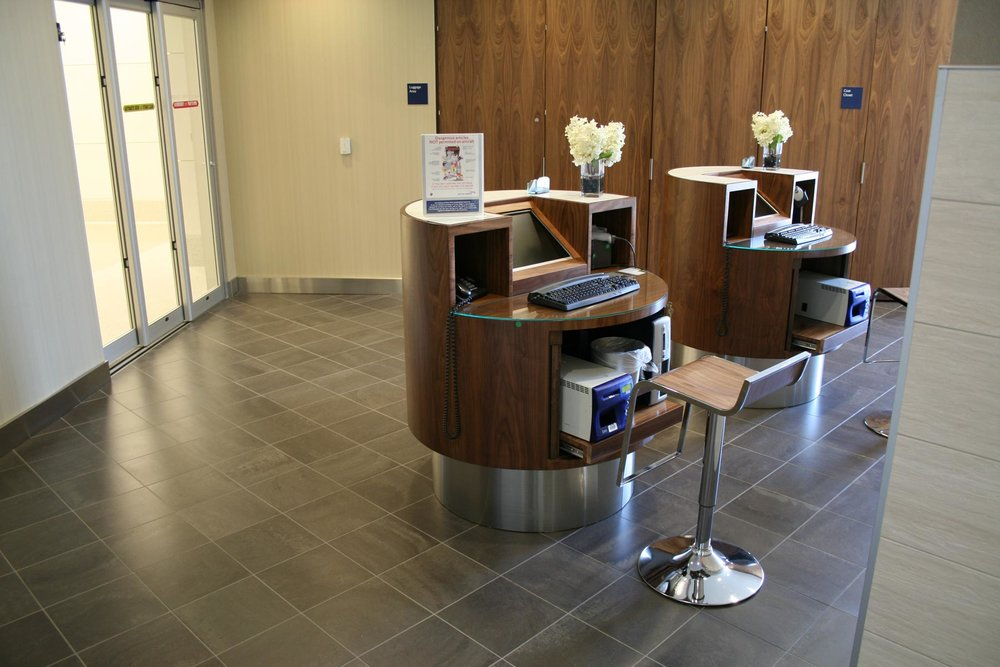 Reception Desk at British Airways First Class Lounge Newark Airport by Sentient Furniture