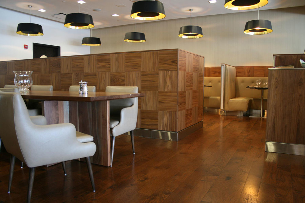 Banquettes, Booths and Tables at British Airways First Class Lounge Newark Airport by Sentient Furniture