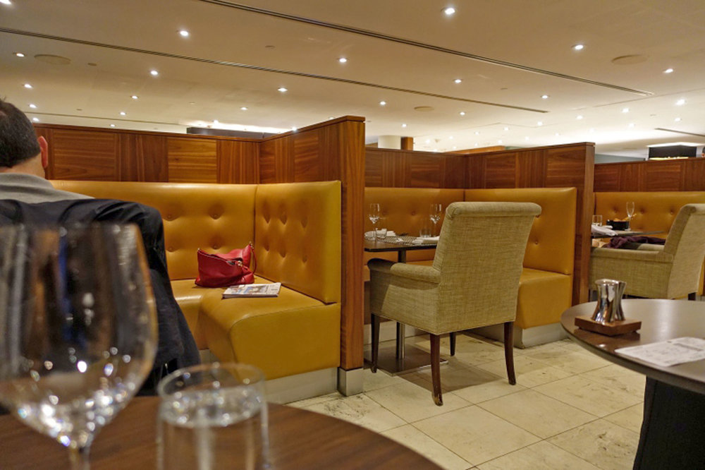 Banquettes, Booths, Dining Tables at British Airways First Class Lounge at JFK Airport in NYC by Sentient Furniture