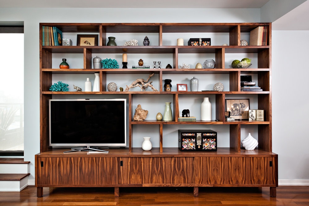 Custom Walnut Built In Media Cabinet Shelving by Sentient