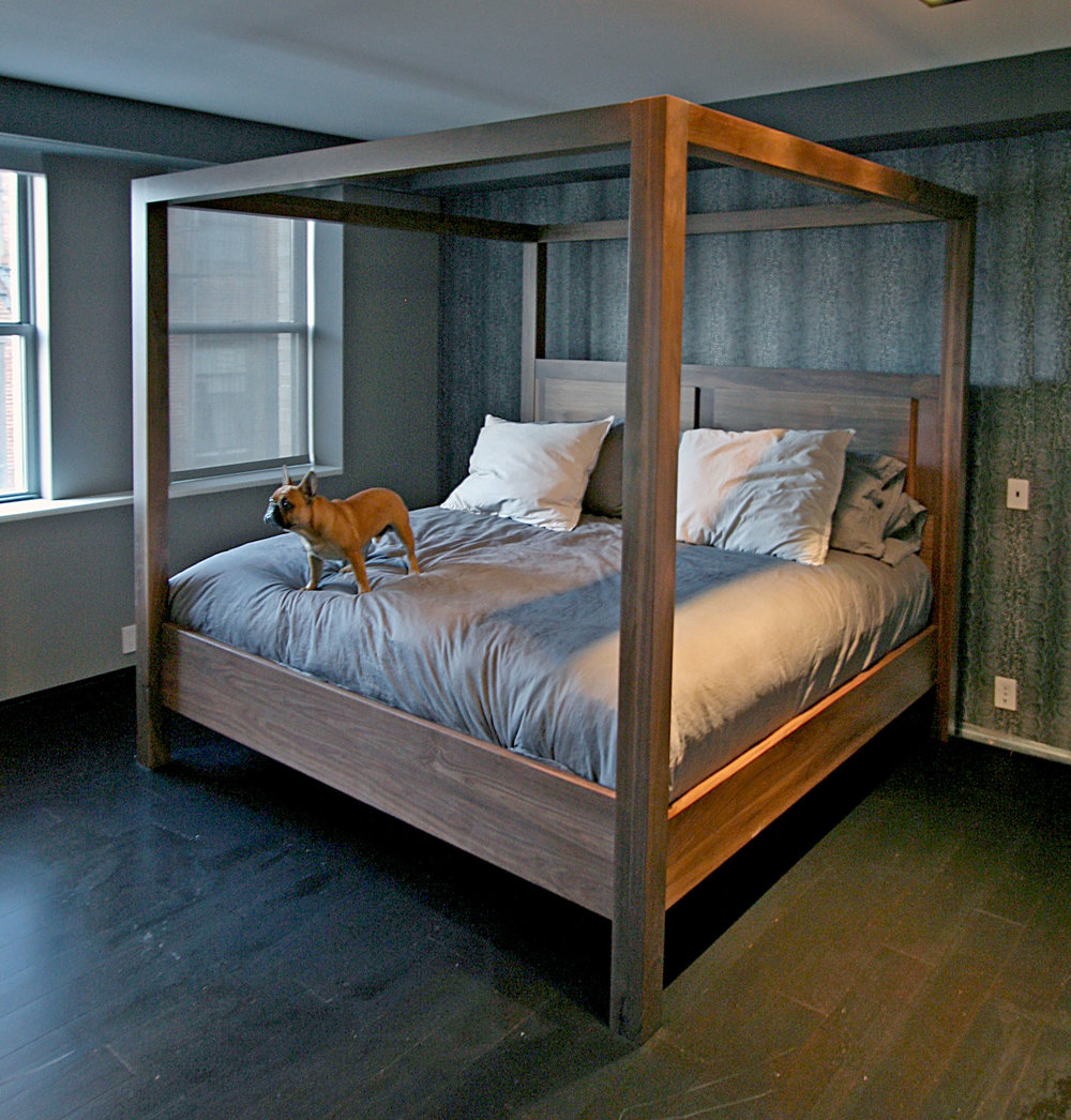 Custom Walnut Canopy Bed by Sentient