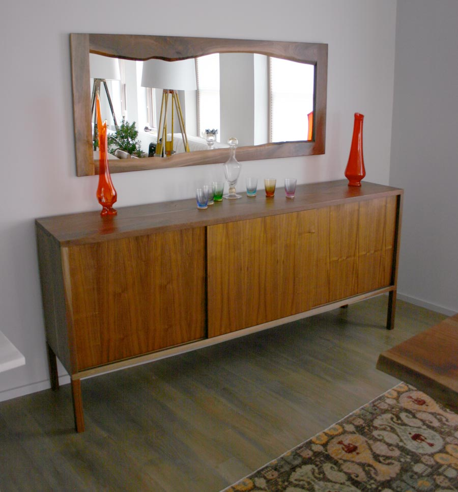 Walnut Live Edge Mirror and Buffet by Sentient