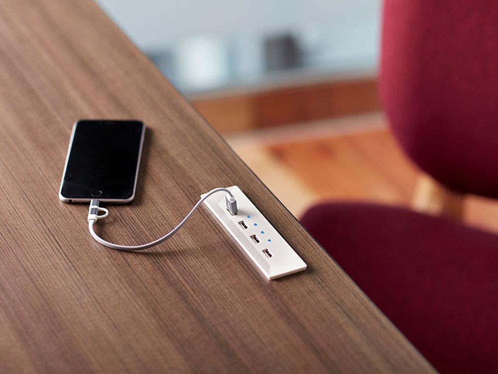 USB hub built into desktop