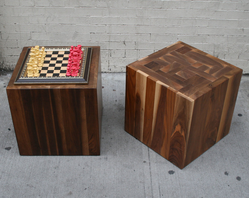 Custom Walnut Endgrain Blocked Cube Cocktail Tables
