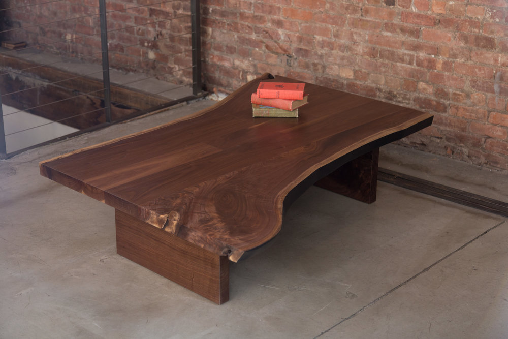 Custom Walnut Live Edge Slab Coffee Table