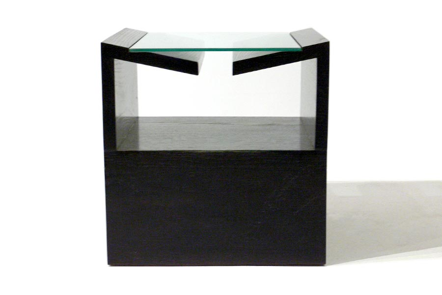 Copy of Custom Black Lacquered Tidy Side Table with Glass