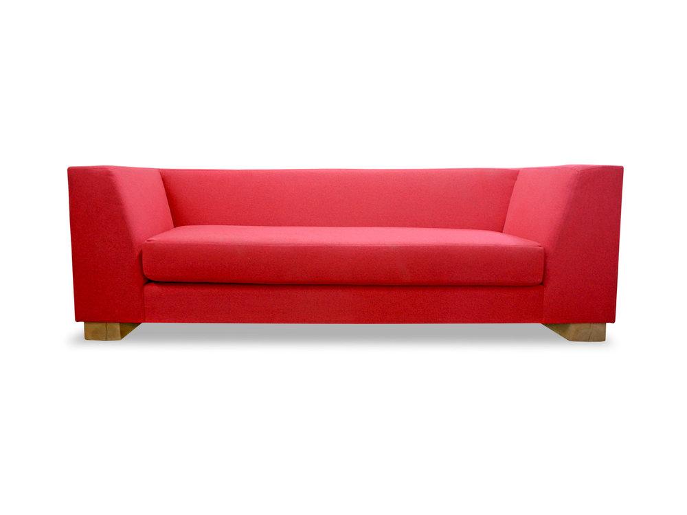 Custom Red Wool Sofa