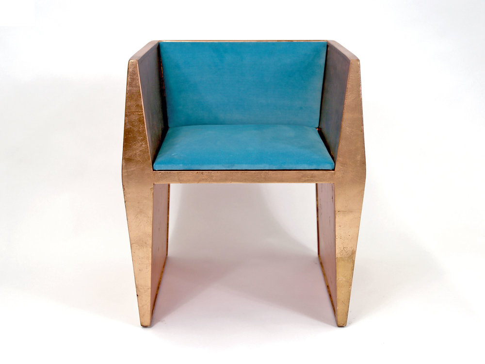 Sapience Chair in Copper Leaf with Turquoise Upholstery