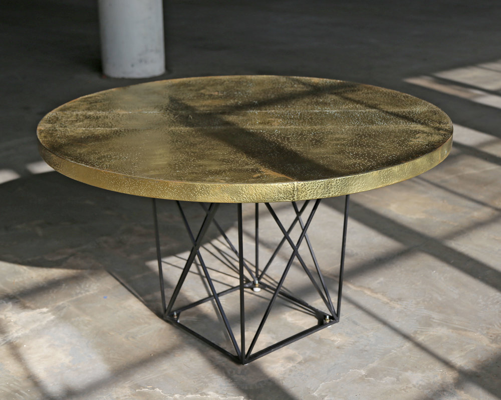 Hammered Brass Dining Table