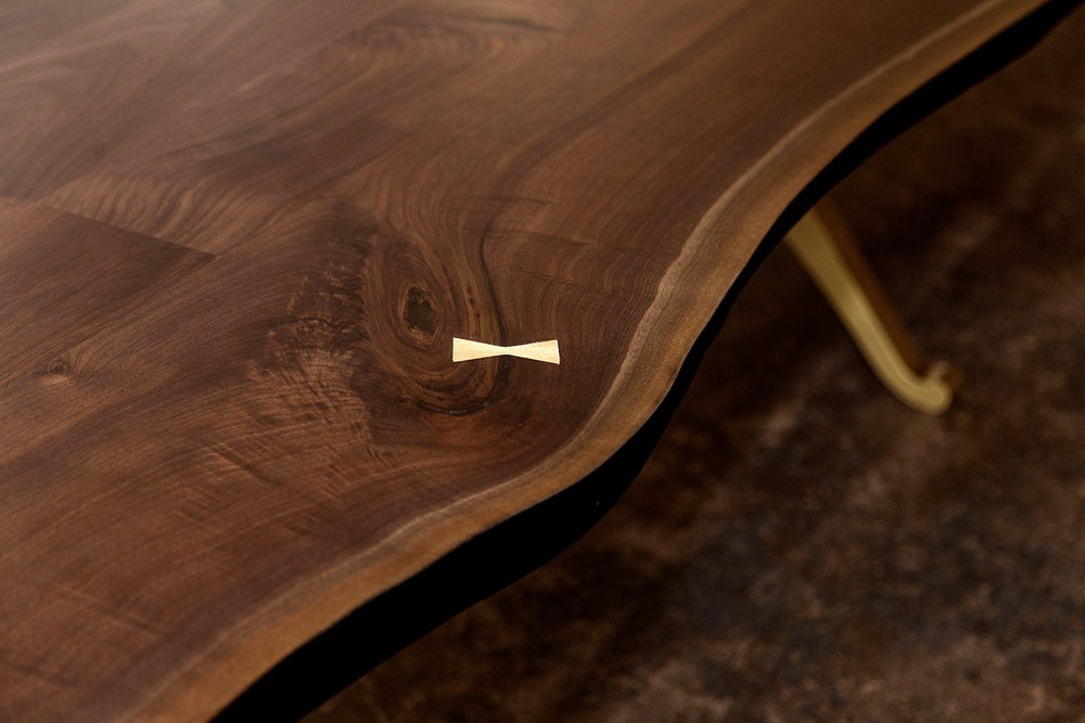 Sentient American Black Walnut Live Edge Table with Brass Wishbone Pedestal Base