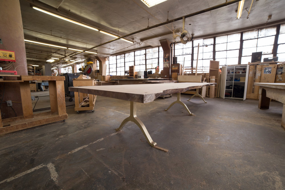 Brooklyn Workshop building slab walnut dining table