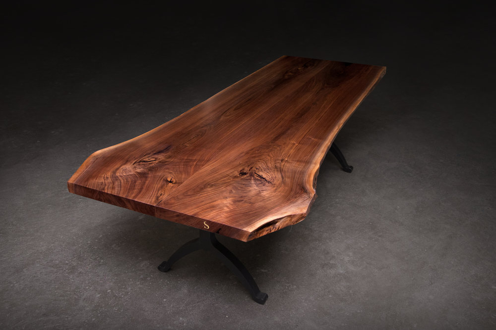 Sentient Center Join American Black Walnut Live Edge Bookmatched Slab Table