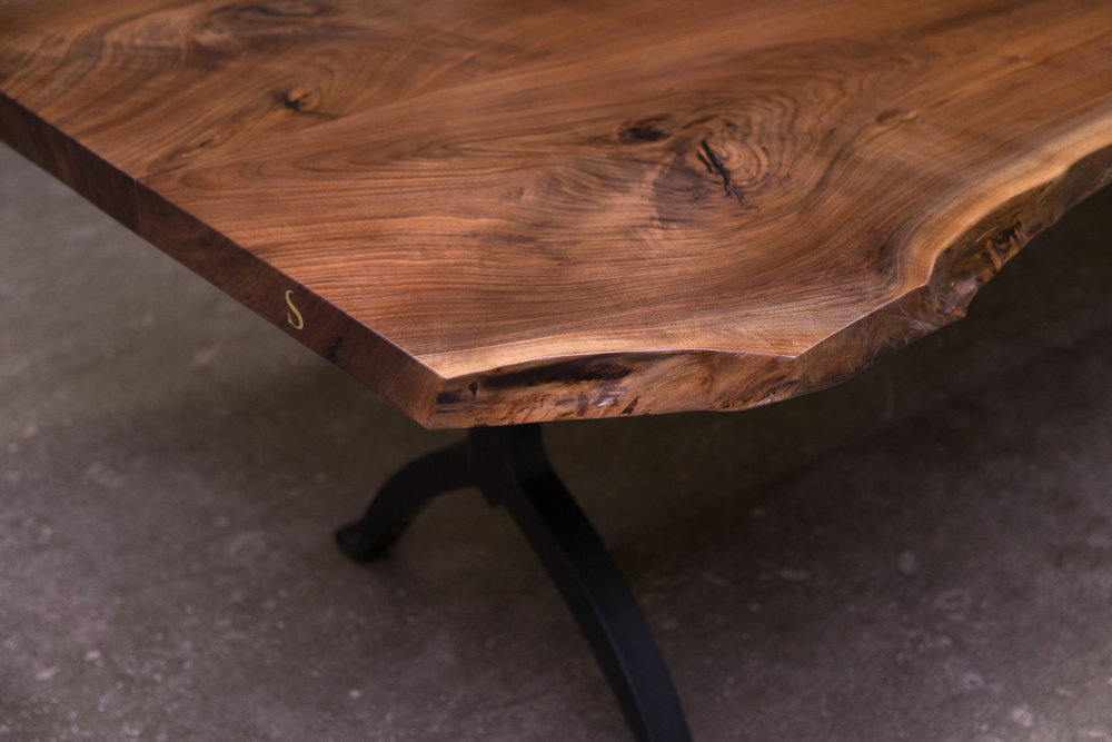 Live Edge Table / Solid American Black Walnut Live Edge Dining Table
