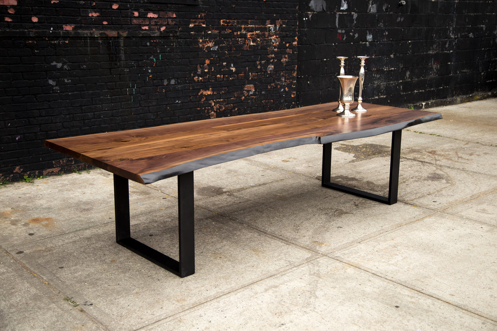 SENTIENT American Black Walnut Signature Live Edge Table with Blackened Steel Frame Legs
