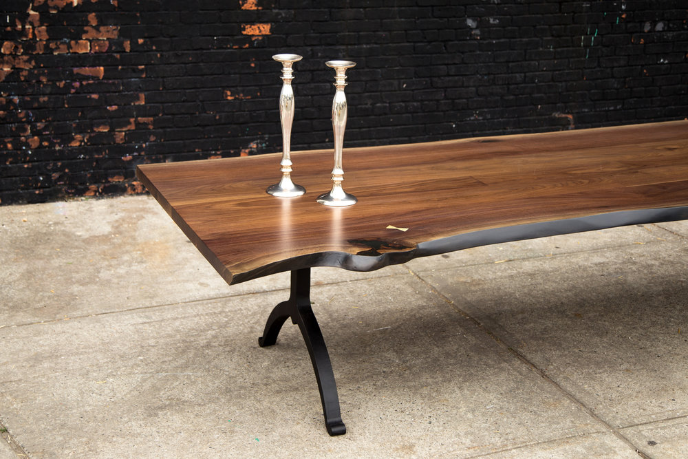 Live edge table with blackened steel legs