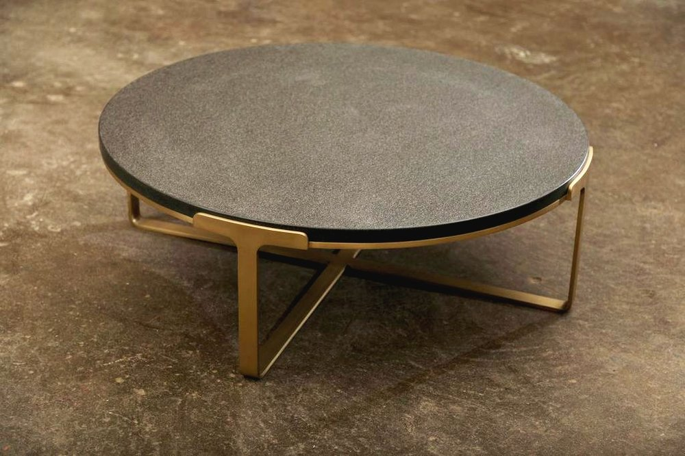 Custom Round Coffee Table with Brass Base and Stone Top