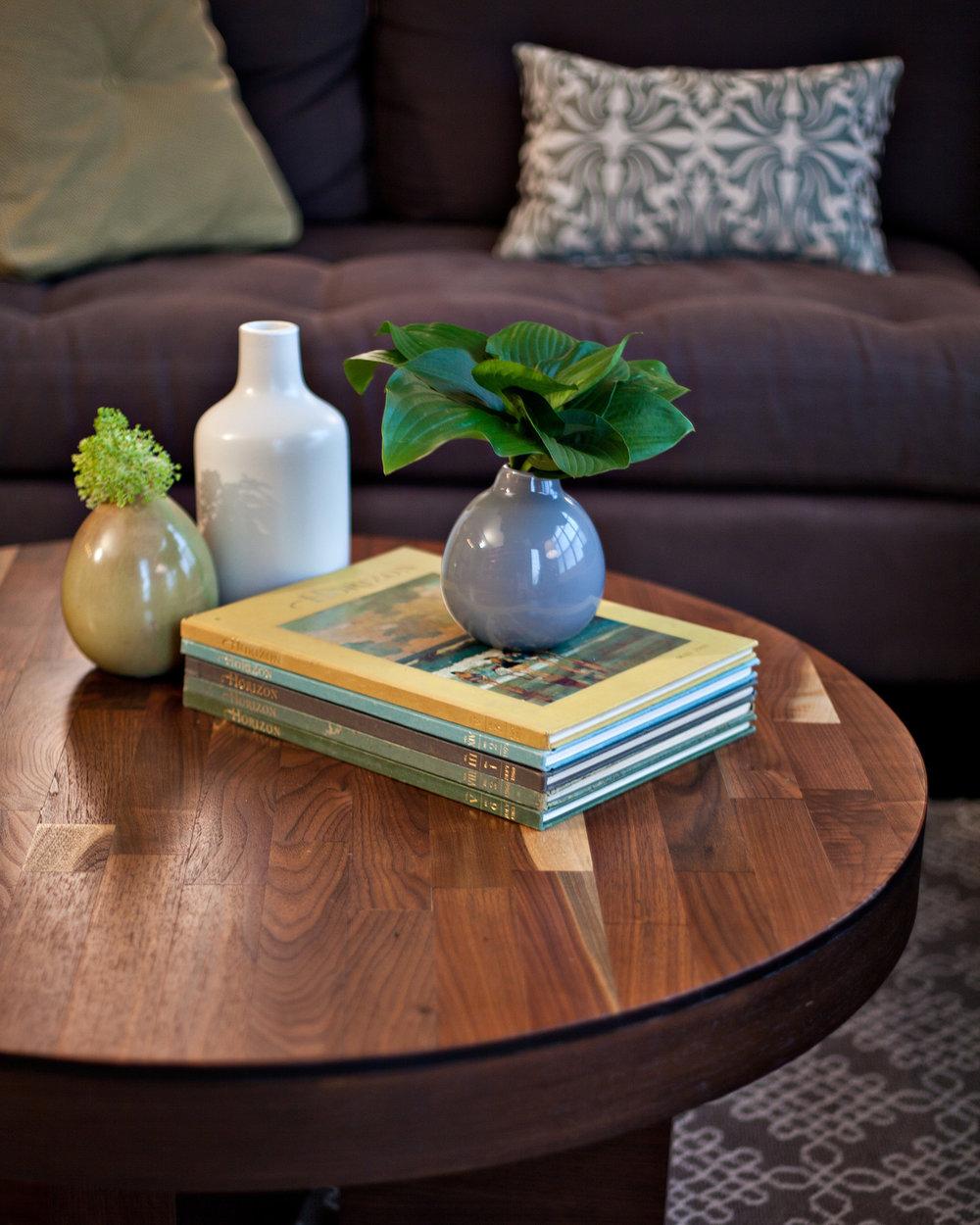 Custom Round Walnut Coffee Table