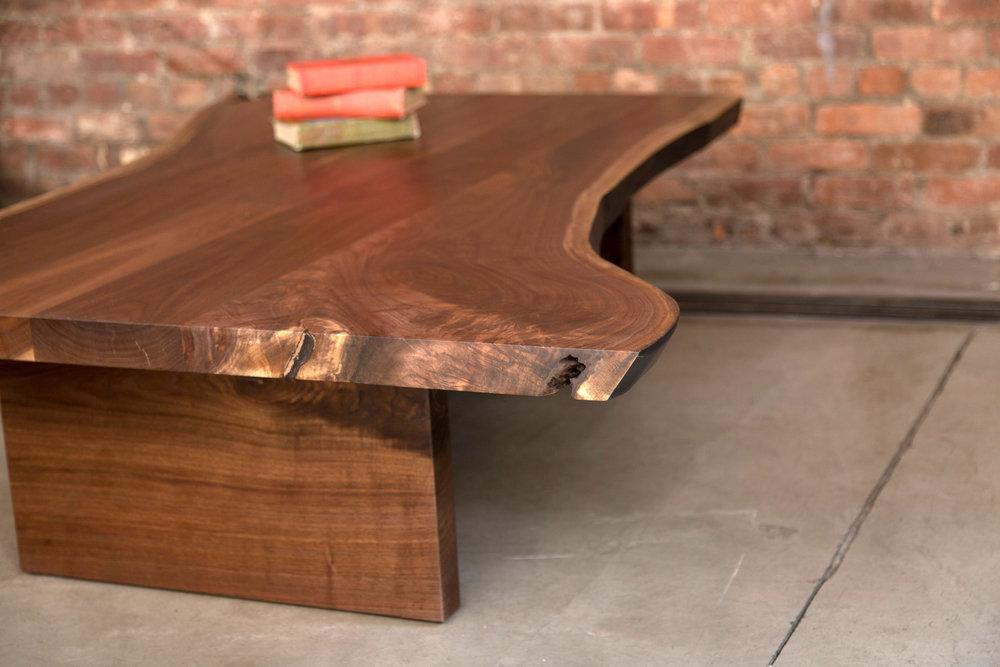 Custom Walnut Live Edge Slab Coffee Table