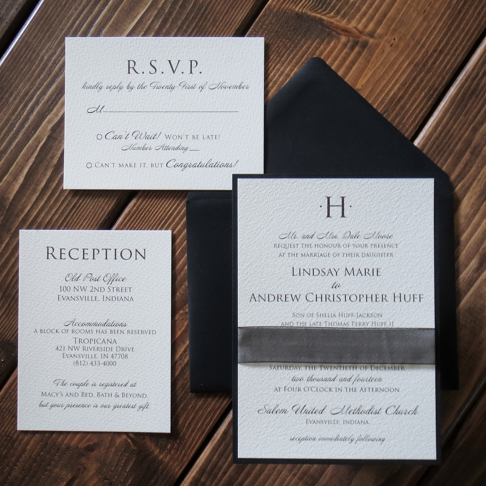heres a quick post of a recent december wedding invitation i love how black can make everything elegant clean and simple wins every time - Black Tie Wedding Invitations