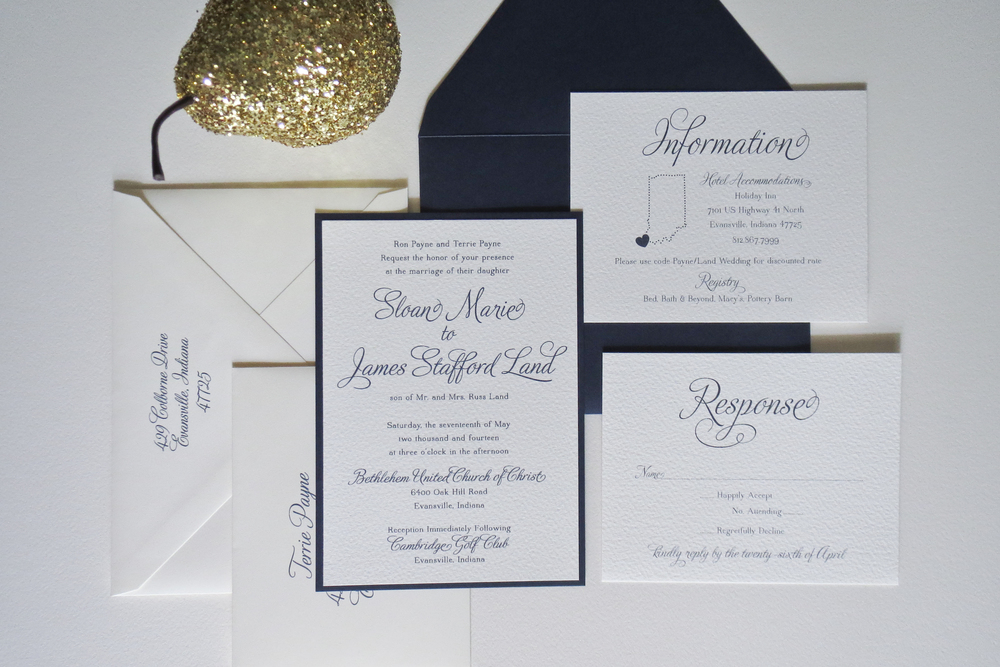 Elegant Navy Wedding Invitation and Custom Calligraphy - Bailey ...