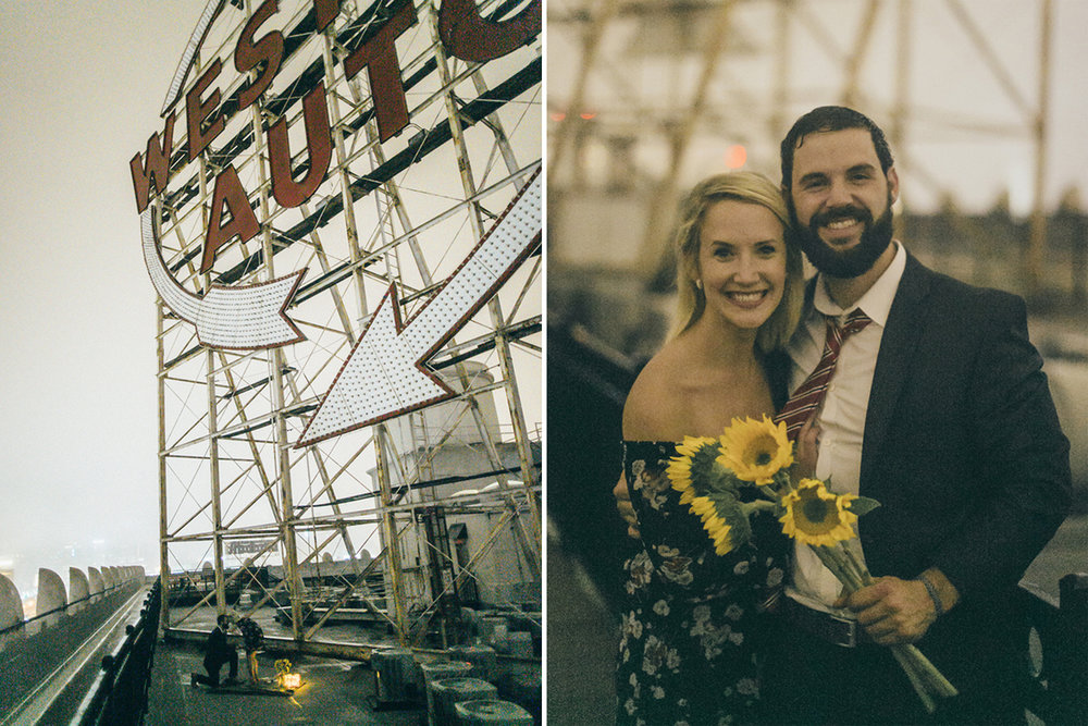 Western Auto Building Rooftop Engagement Proposal Kansas City Wedding Photographer