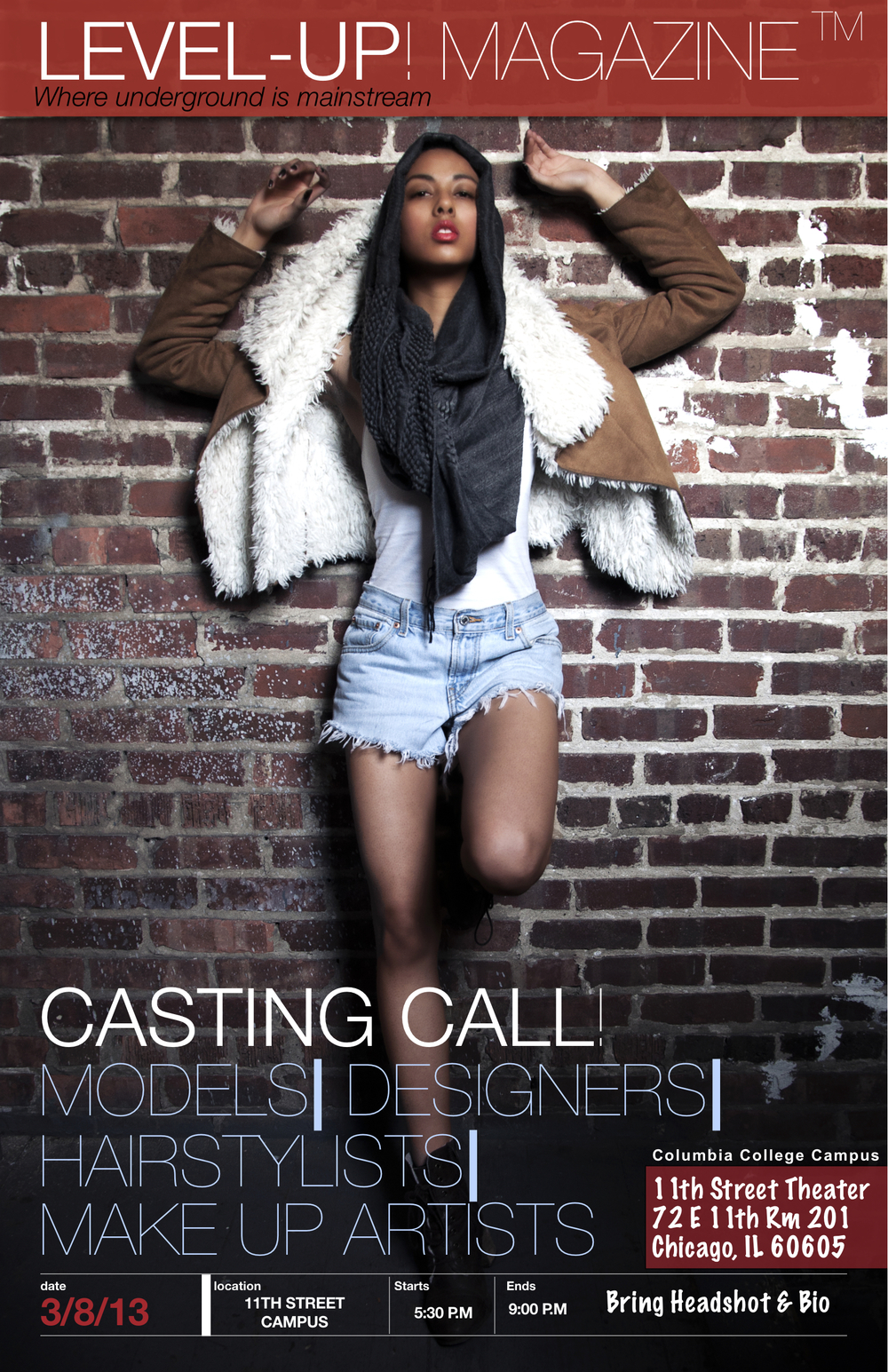 LEVEL-UP! MAGAZINE CASTING CALL! March 8th 2013 MODELS| DESIGNERS| HAIRSTYLISTS| MAKE UP ARTISTS 11th Street Theater 72 E 11th ST. Rm 201 Chicago, IL 60605  STARTS: 5:30PM Ends 9:00PM Columbia College Campus Bring Headshot & Bio