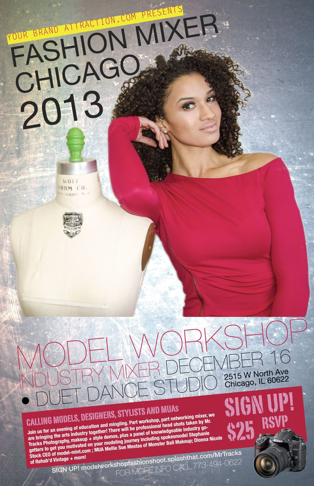 Join us for an evening of education and mingling. Part workshop, part networking mixer, we are bringing the arts industry together! There will be professional head shots taken by Mr. Tracks Photography, makeup + style demos, plus a panel of knowledgeable industry go- getters to get you motivated on your modeling journey including spokesmodel Stephanie Stock CEO of model-mint.com ; MUA Mellie Sue Mestas of Monster Ball Makeup; Dionna Nicole of Rehab'd Vintage + more!