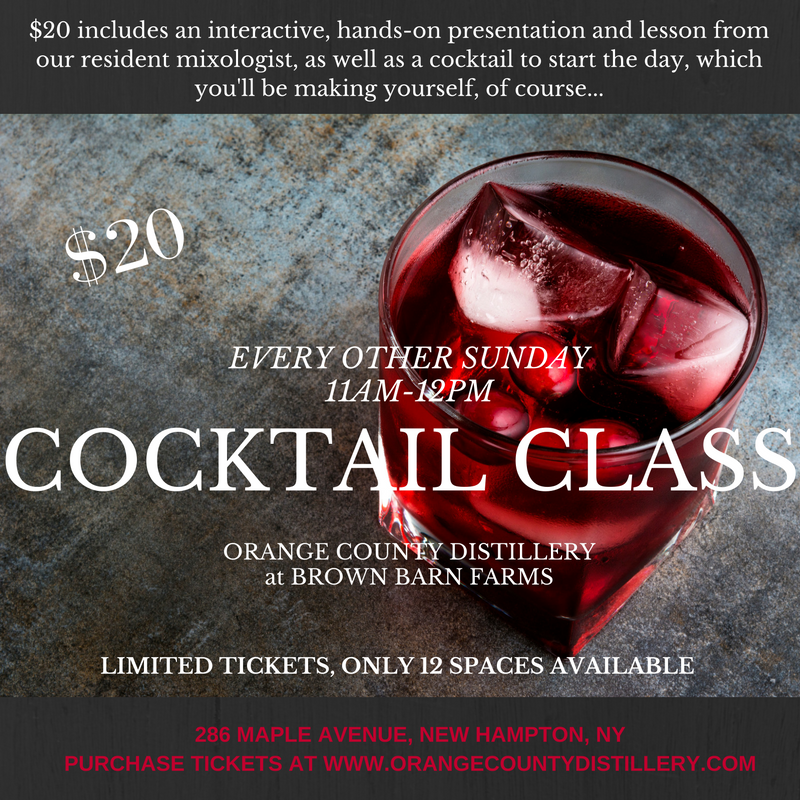 DUE TO UNFORESEEN CIRCUMSTANCES, THIS CLASS IS BEING MOVED TO 02/26/17.  IF YOU HAVE ALREADY PURCHASED TICKETS AND CANNOT ATTEND ON THE NEW DATE, WE WILL REFUND YOUR TICKET OR GIVE YOU A RAIN CHECK FOR ANOTHER FUTURE DATE.  PLEASE CONTACT US AT INFO@ORANGECOUNTYDISTILLERY.COM FOR A REFUND OR RAIN DATE.  WE APOLOGIZE FOR THE INCONVENIENCE.   Learn and practice how to shake, stir, measure, and pour at our in-house Cocktail Class.  $20 includes an interactive, hands-on presentation and lesson from our resident mixologist, as well as a cocktail to start the day, which you'll be making yourself, of course...  Tickets are extremely limited (so everyone has room to scoot up to the bar), so purchase soon!   PURCHASE TICKETS HERE .   FAQs    Are there ID or minimum age requirements to enter the event?   Must be 21.  Please bring ID.   What's the refund policy?   No refunds, as we pre-purchase all fresh ingredients and prep everything beforehand.   Do I have to bring my printed ticket to the event?   Yes, please.   Is my registration fee or ticket transferrable?   Yes.     Should I tip my bartender/mixologist?   He's showing you how to make cocktails on a Sunday morning....MORNING...