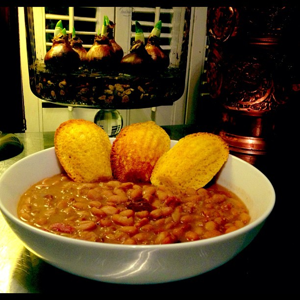 Navy Beans with Smoked Game Sausage and Corn Madeleines