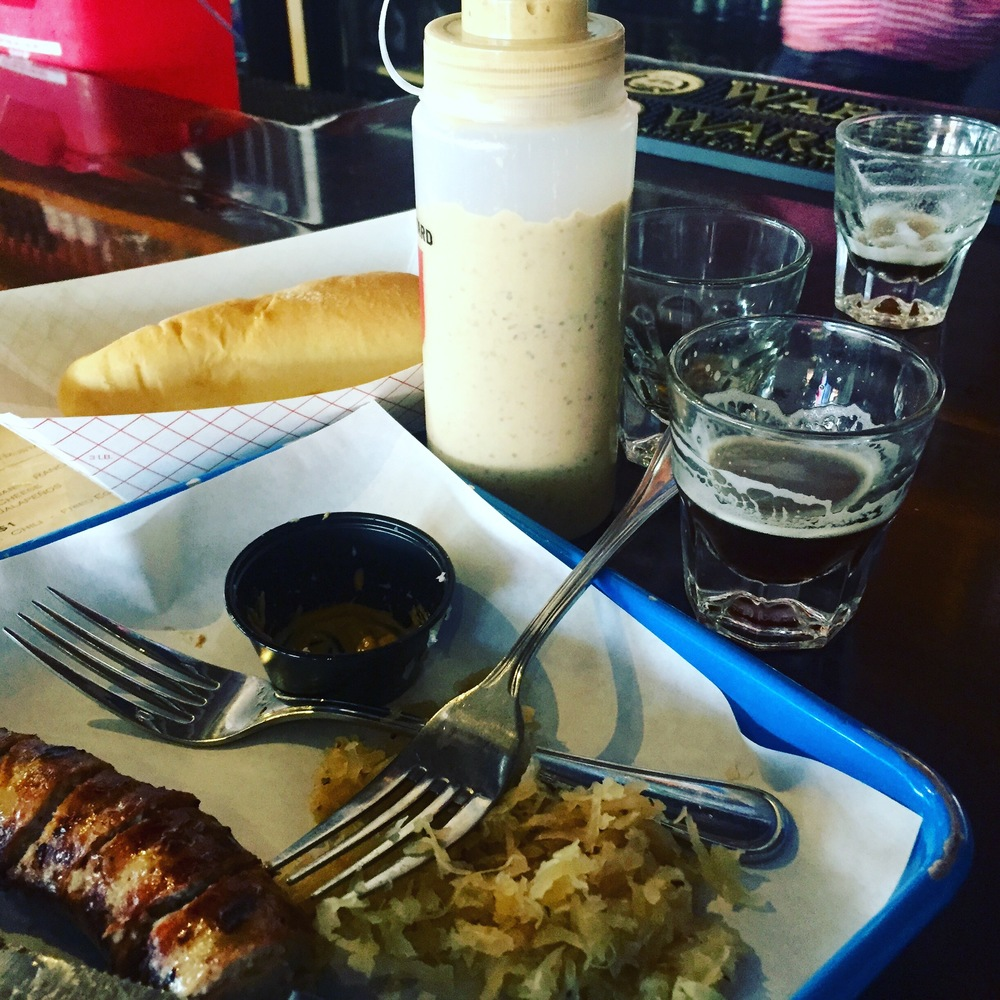 Bratwurst, kraut, and beer, courtesy of OKC's Fassler Hall