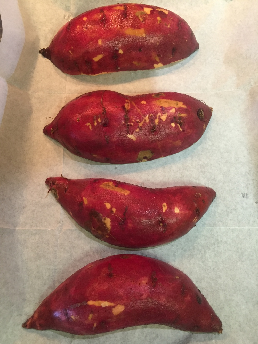 Oklahoma grown sweet potatoes ready for roasting.