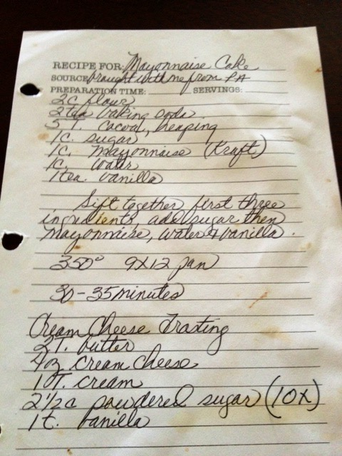 "Mom's handwritten recipe that I took a photo of. As you can see it's been well used, and she has noted ""brought with me from Pa (Pennsylvania) """