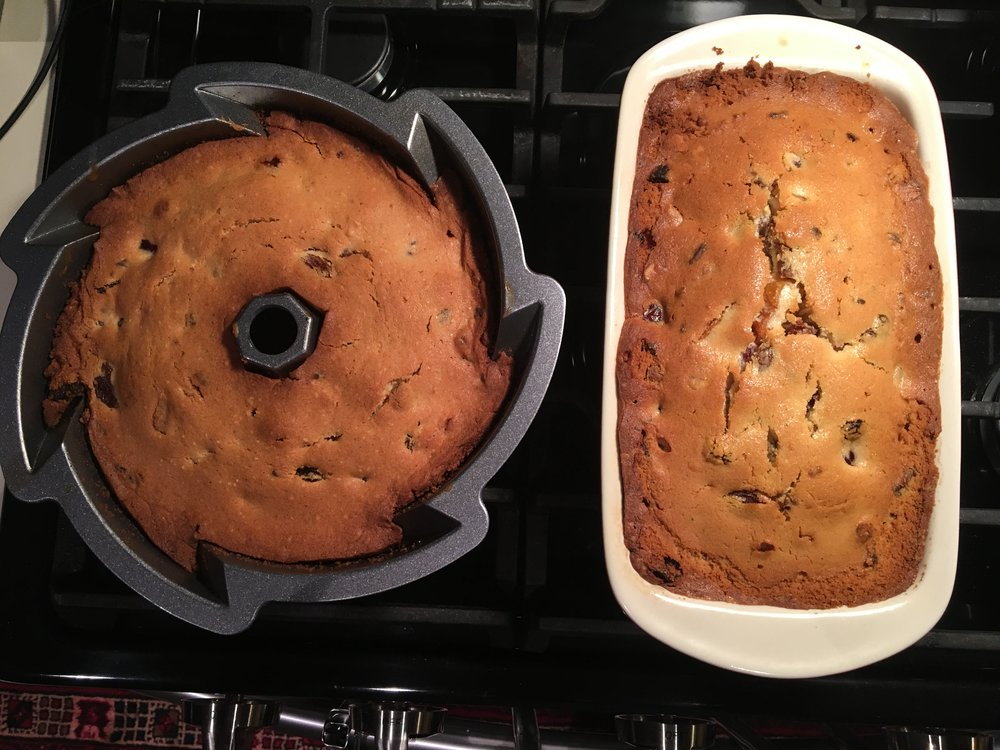 From one recipe I baked a bundt cake and loaf pan.
