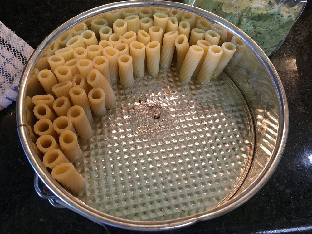Start stacking the pasta