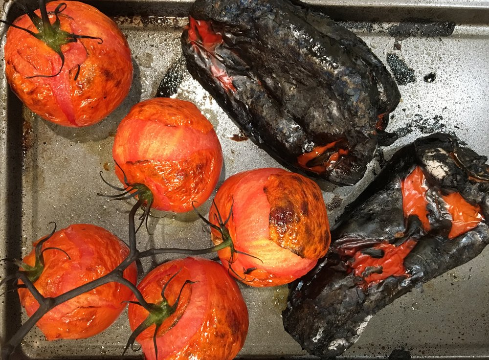 Charred Peppers and Tomatoes