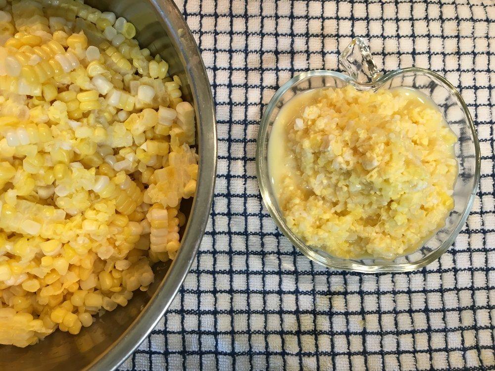 Corn kernels and pulp