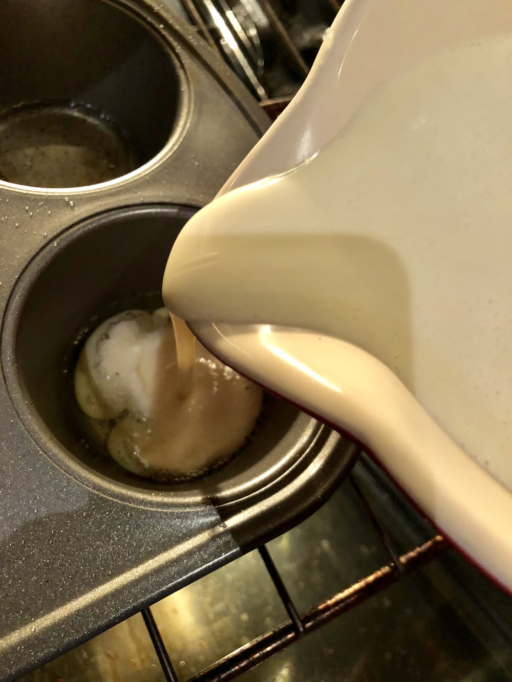Poring the batter into smoking hot pan and oil makes the perfect Yorkshire Pudding!