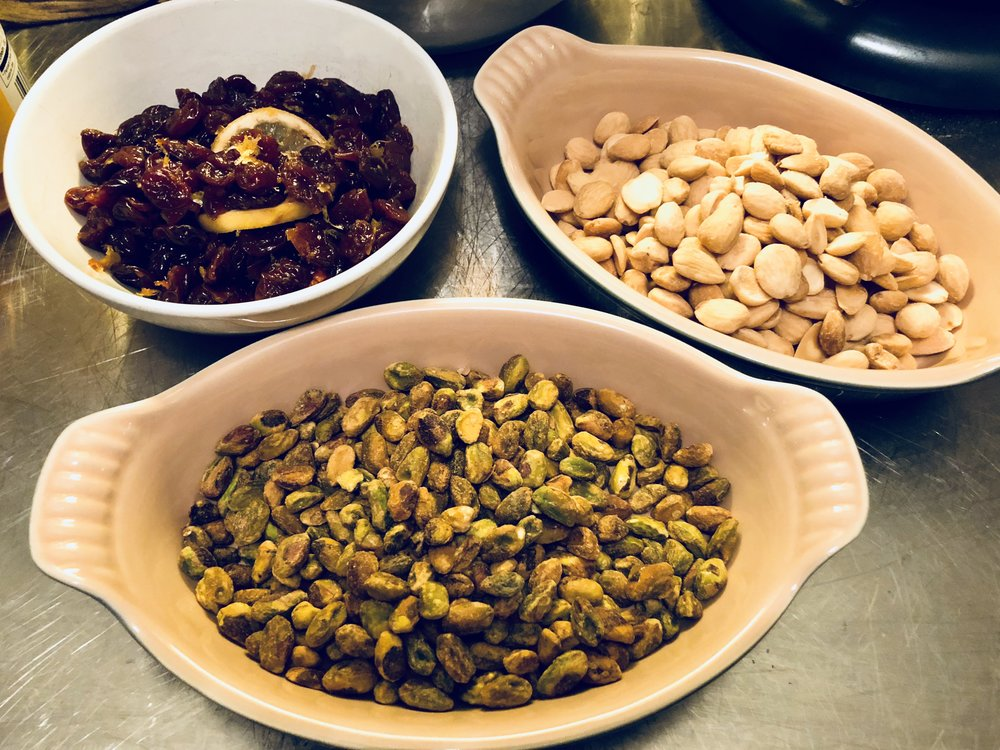 Cherries, roasted pistachio, and almonds