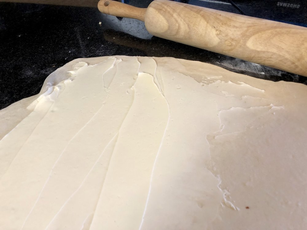 Soft butter smooth out onto the dough