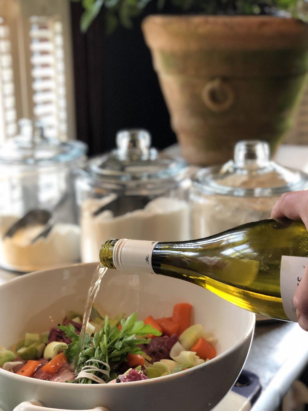 Marinate overnight in wine.