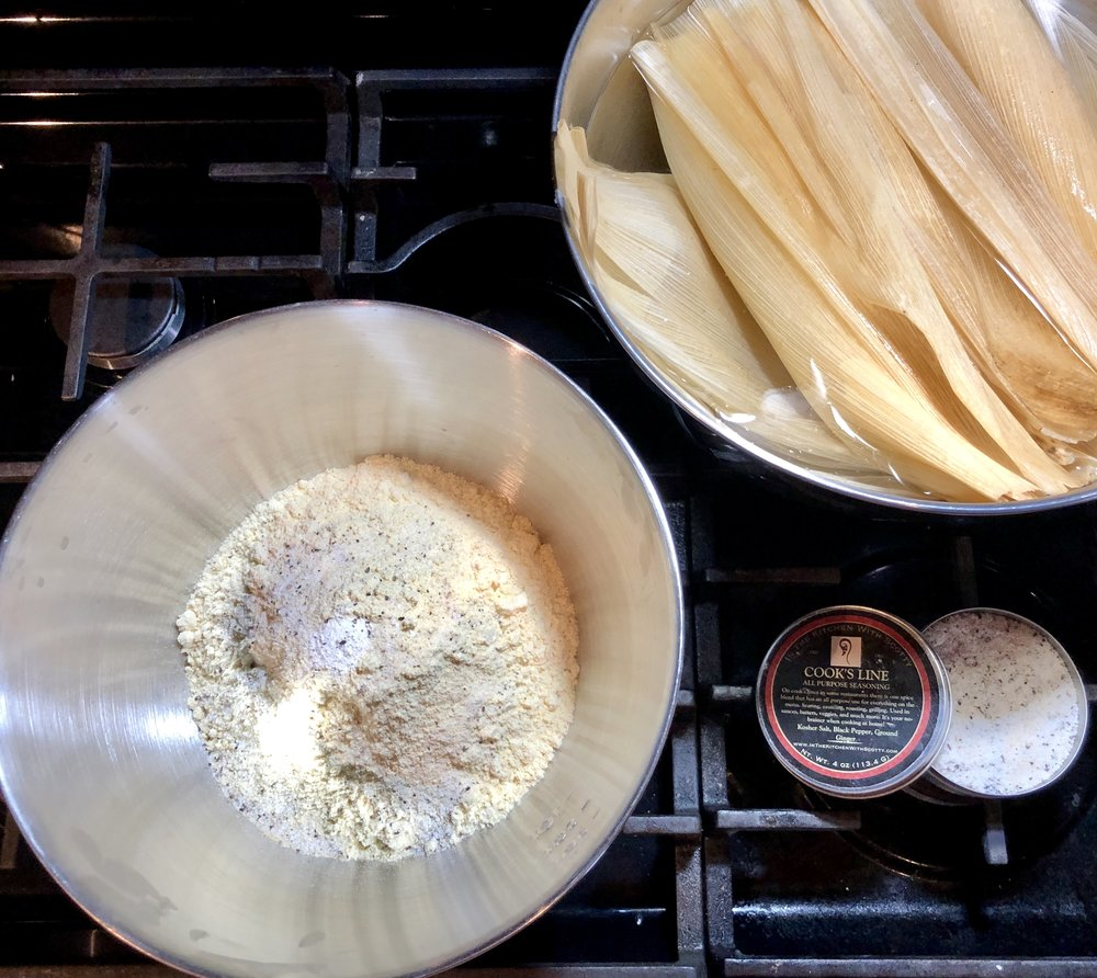 Masa Harina dough mixture, soaking corn husks, and    Cook's Line Seasoning    for the win!