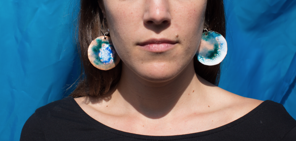 Zoe in Stormy Imaginary Planet Earrings