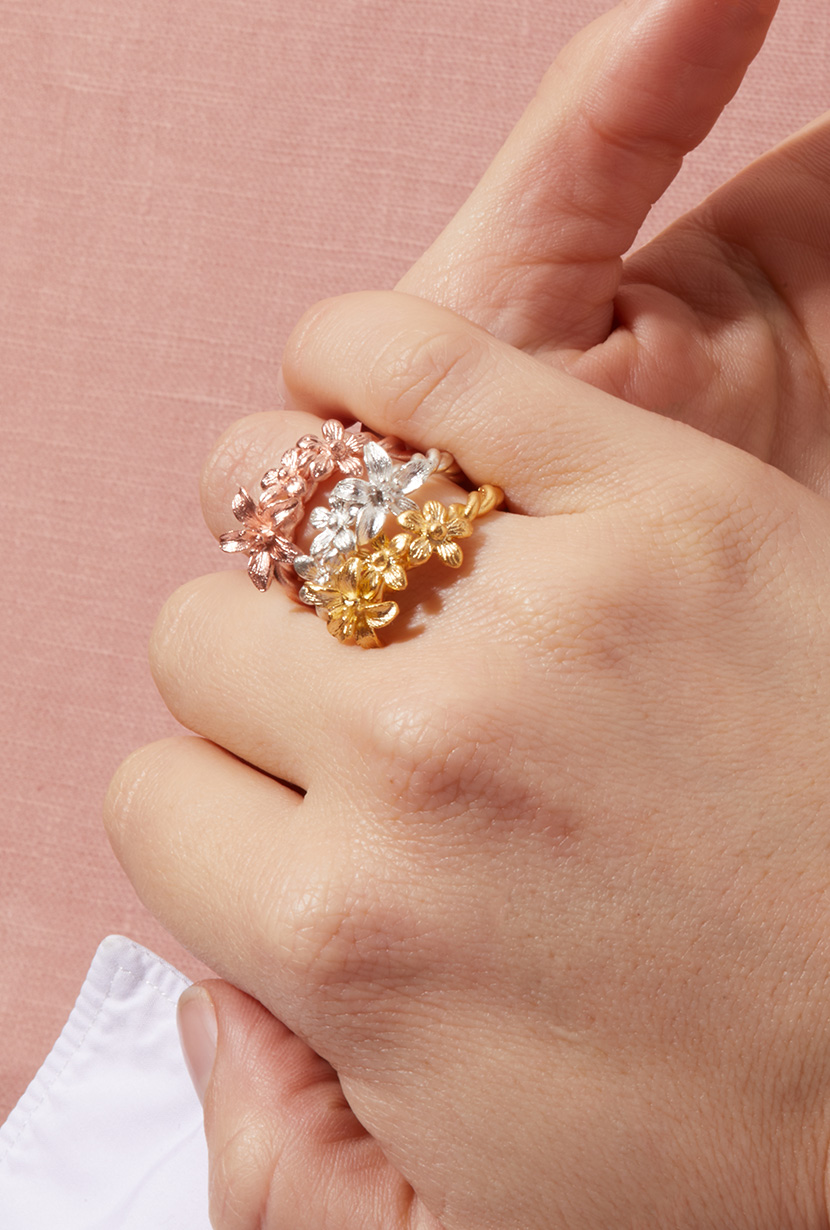 Garland-Ring-Stack-Sterling-Silver-Rose-Gold-Yellow-Gold-Model-PDP