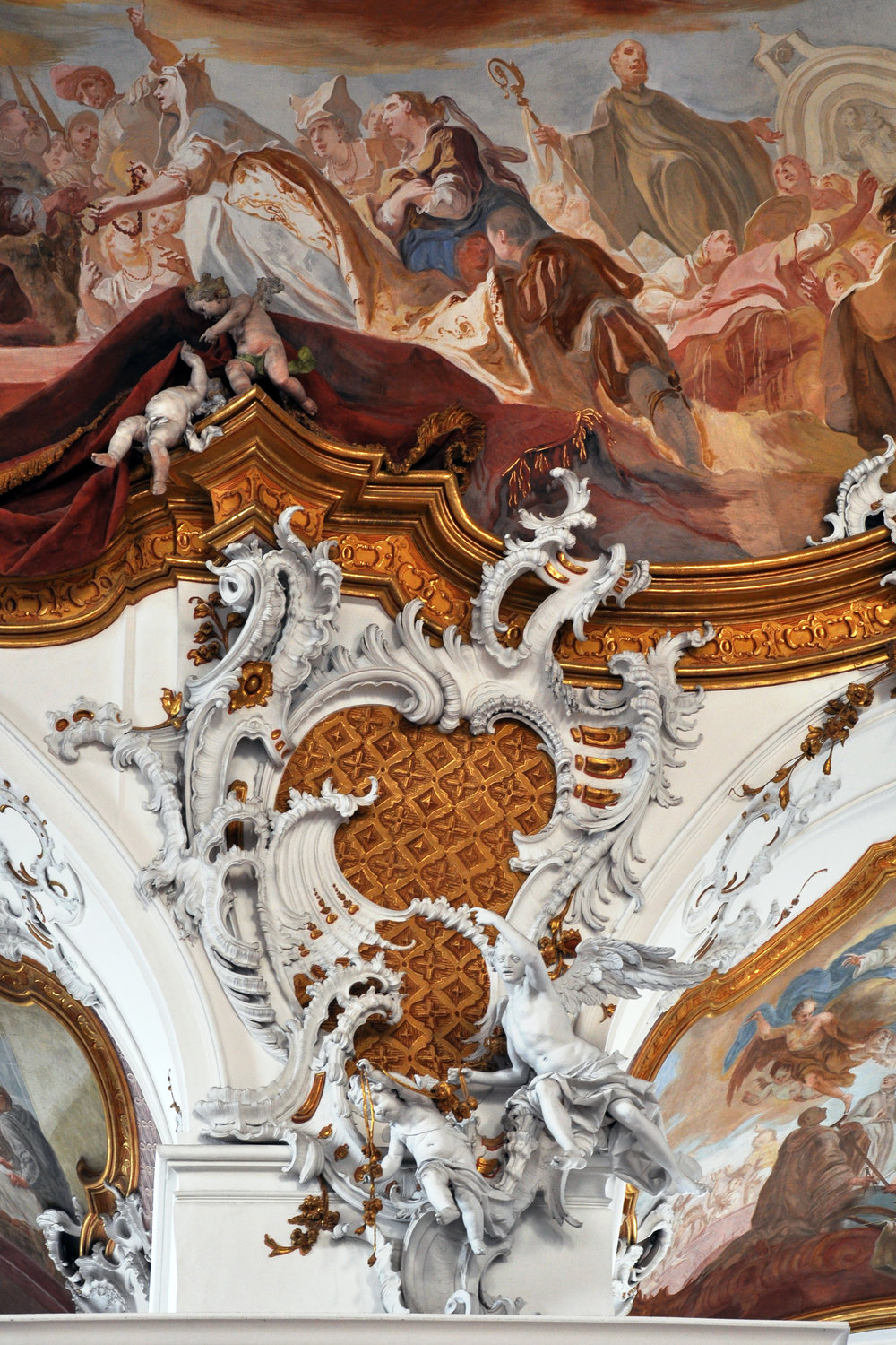 Integrated rococo carving, stucco and fresco at Zwiefalten