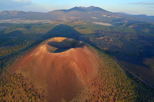 Sunset Crater with the San Francisco Peaks in the background