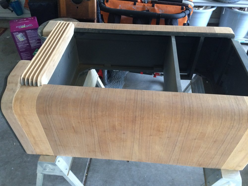 The sanded cabinet