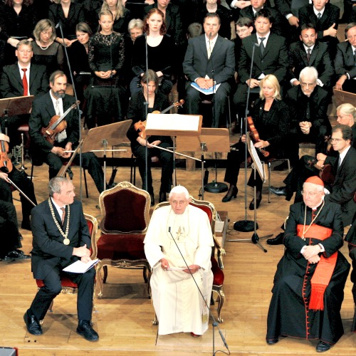 Pope Benedict XVI speaks to students and professors at the Auditorium Maximum of the University of Regensburg in Regensburg, Germany, Sept. 12, 2006. (Matthias Schrader/picture-alliance/dpa/AP Images)