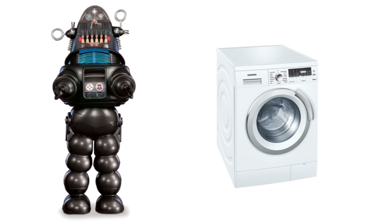 On the left, what everyone thinks machine learning is. On the right, what is actually is.
